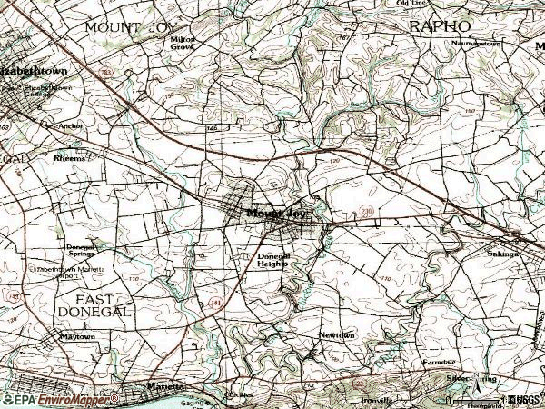Zip code 17552 topographic map