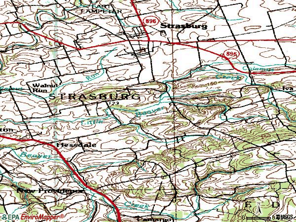Zip code 17579 topographic map