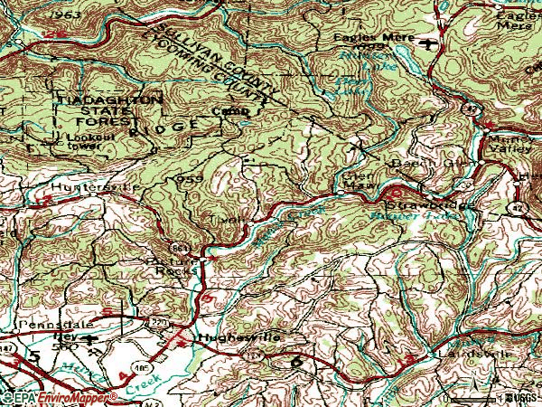 Zip code 17737 topographic map