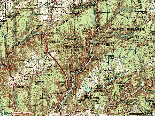 Zip code 17771 topographic map