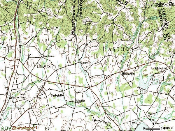 Zip code 17772 topographic map