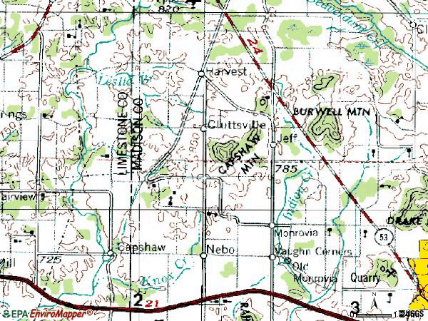 Zip code 35749 topographic map