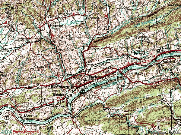 Zip code 17815 topographic map