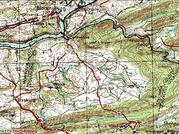 Zip code 17820 topographic map