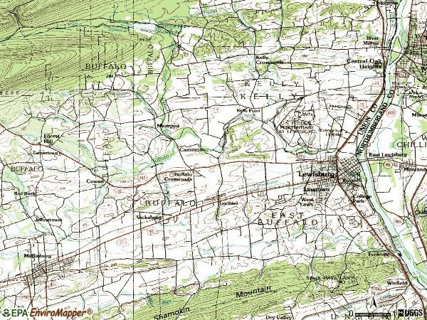 Zip code 17837 topographic map