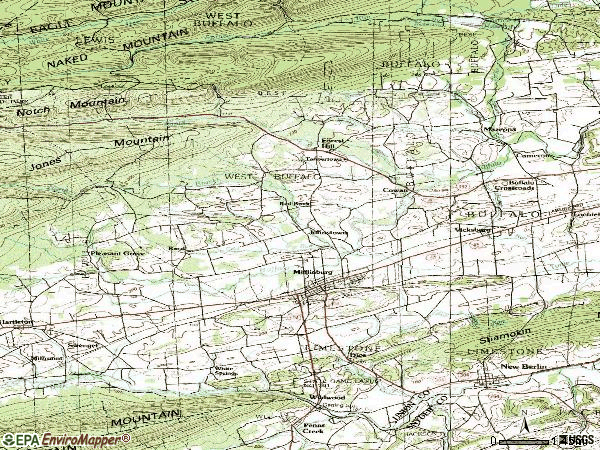 Zip code 17844 topographic map
