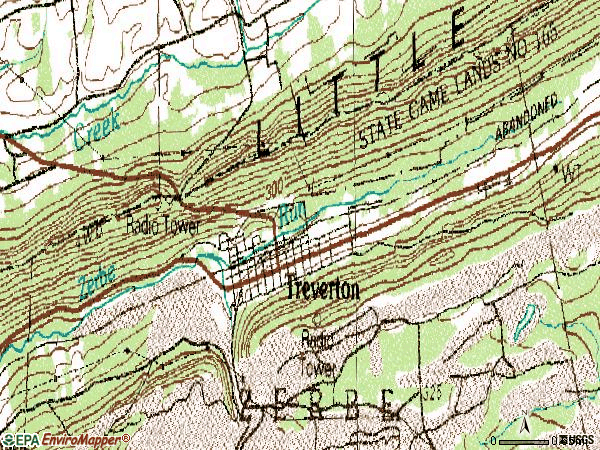 Zip code 17881 topographic map