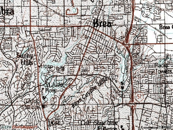 Zip code 92835 topographic map