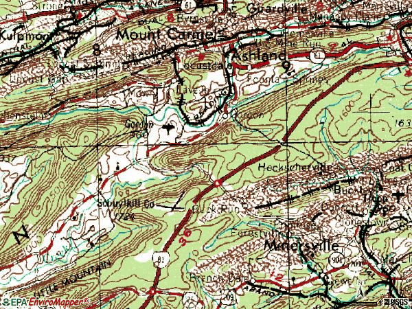 Zip code 17921 topographic map