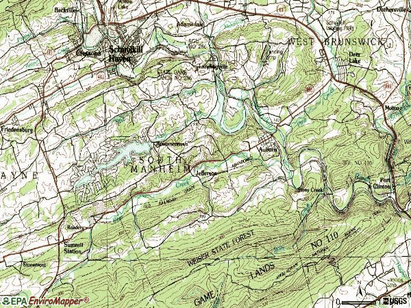 Zip code 17922 topographic map
