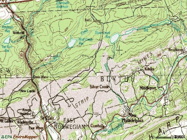 Zip code 17959 topographic map