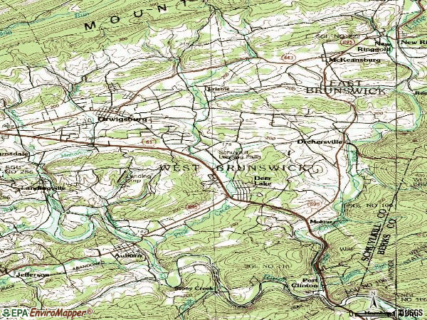 Zip code 17961 topographic map