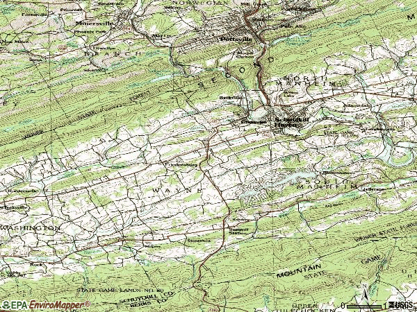 Zip code 17972 topographic map