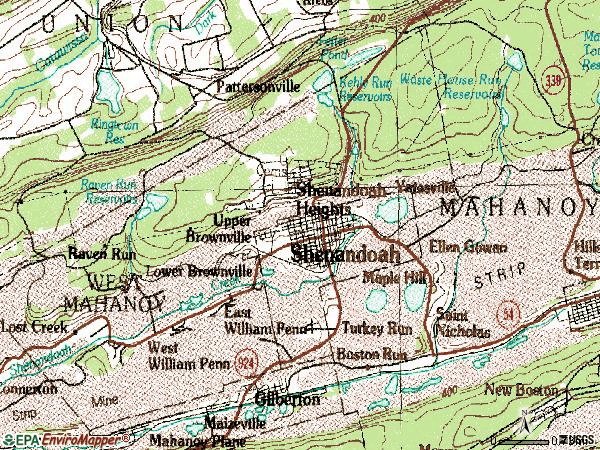 Zip code 17976 topographic map