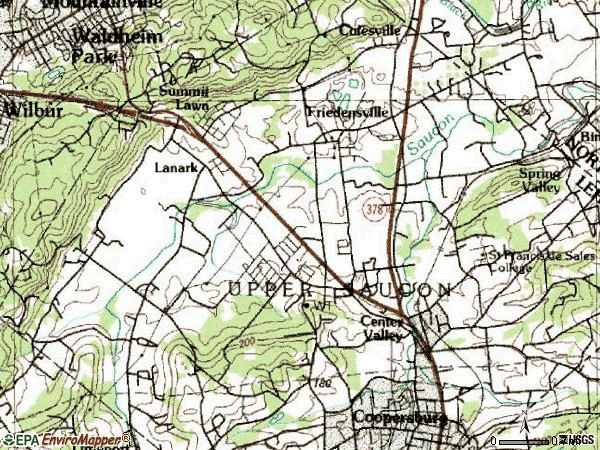Zip code 18034 topographic map