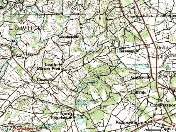 Zip code 18069 topographic map