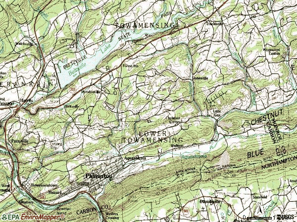 Zip code 18071 topographic map