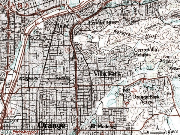 Zip code 92867 topographic map