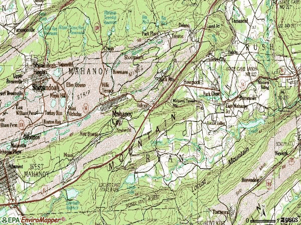 Zip code 18214 topographic map