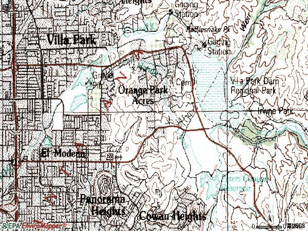 Zip code 92869 topographic map