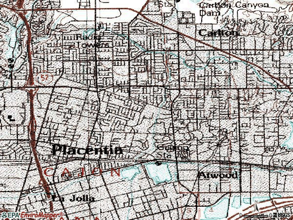 Zip code 92870 topographic map