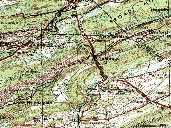 Zip code 18252 topographic map