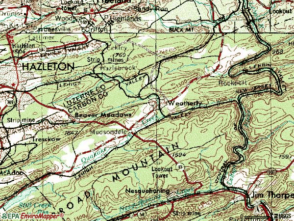 Zip code 18255 topographic map