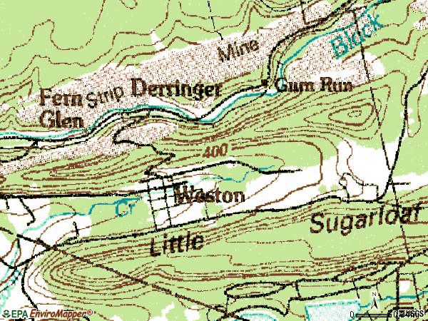 Zip code 18256 topographic map