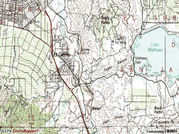 Zip code 92881 topographic map