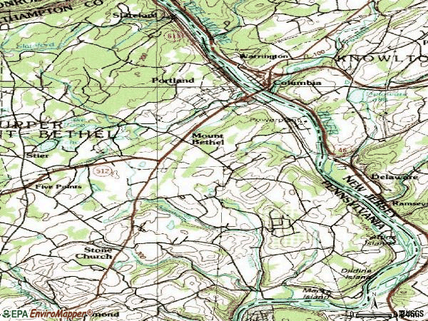 Zip code 18343 topographic map