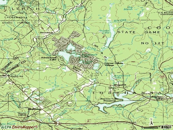 Zip code 18347 topographic map