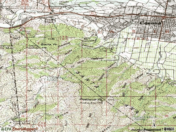 Zip code 92882 topographic map