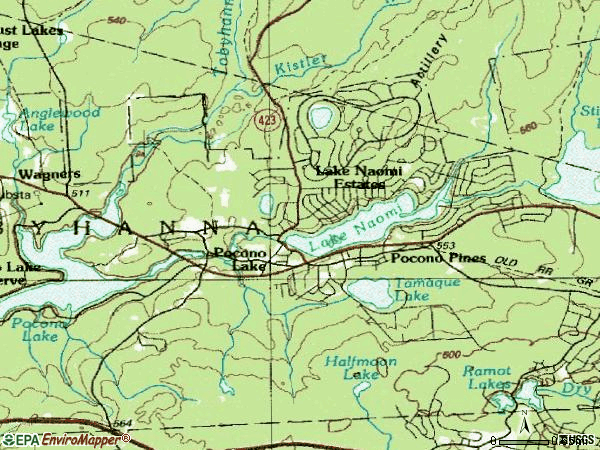 Zip code 18350 topographic map