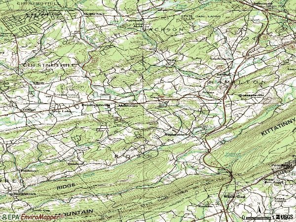 Zip code 18353 topographic map