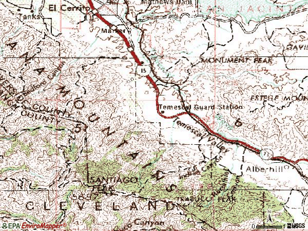 Zip code 92883 topographic map
