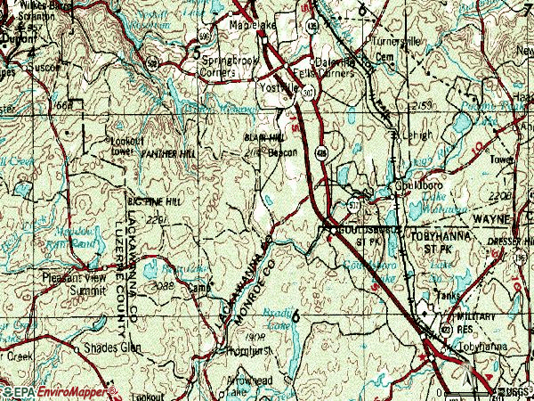 Zip code 18424 topographic map