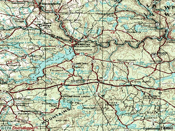 Zip code 18428 topographic map