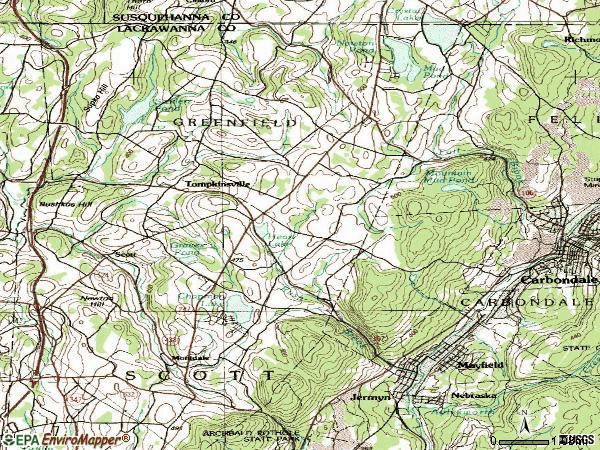 Zip code 18433 topographic map