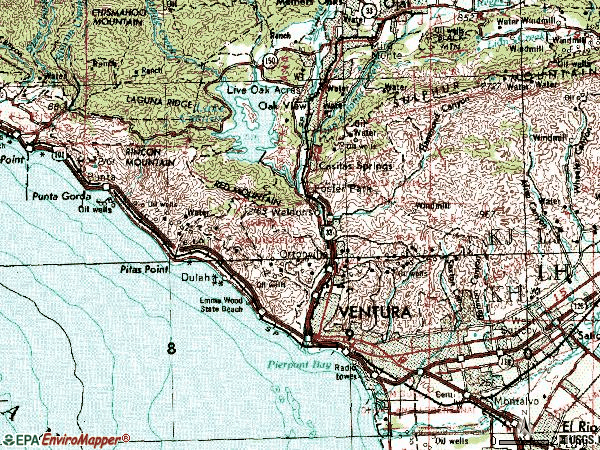 Zip code 93001 topographic map