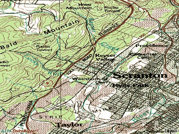 Zip code 18504 topographic map