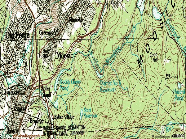 Zip code 18507 topographic map
