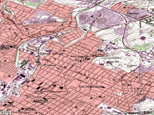 Zip code 18509 topographic map