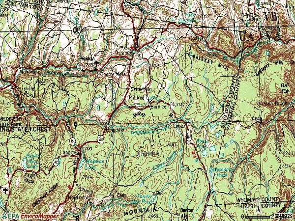 Zip code 18614 topographic map
