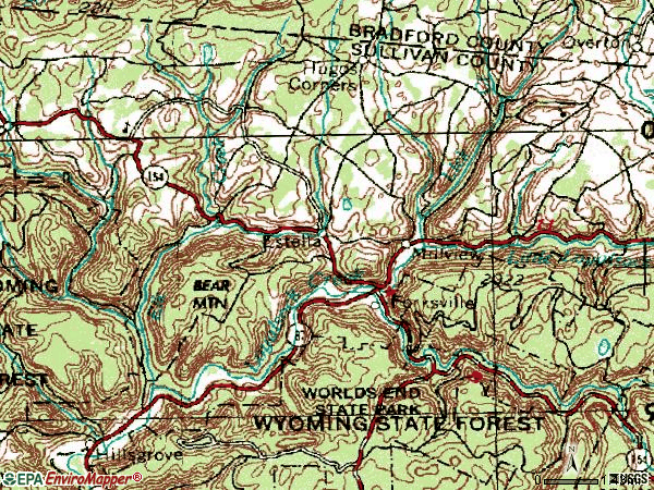 Zip code 18616 topographic map