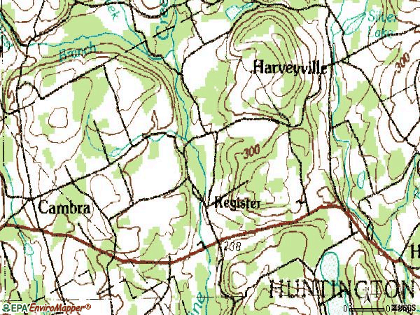 Zip code 18622 topographic map