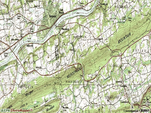 Zip code 18635 topographic map