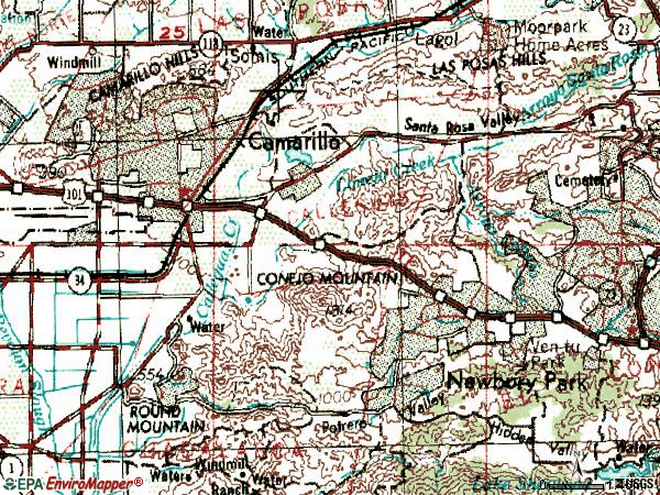 Zip code 93012 topographic map