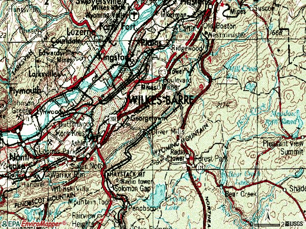 Zip code 18702 topographic map