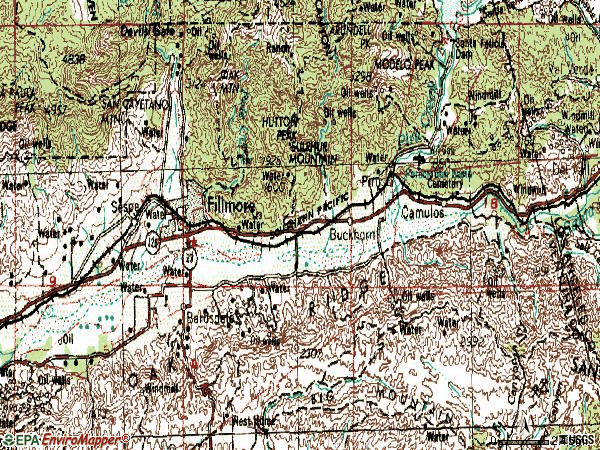 Zip code 93015 topographic map