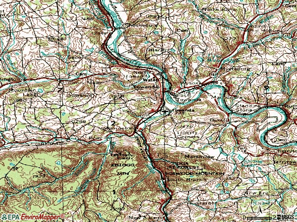 Zip code 18848 topographic map